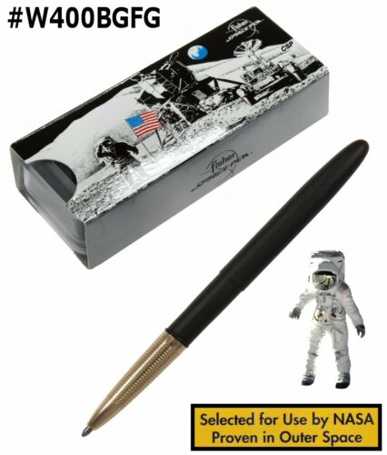 Classic Matte Black Bullet Pen With Gold Front Fisher Space Pen #400BGFG