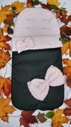 Baby Jogger Compatible Pink Dimples /& Bows Waterproof Fleece Cosytoes Footmuff