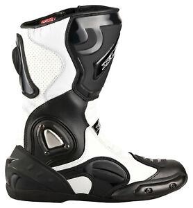 Motorradstiefel-hochwertige-XLS-Touringstiefel-Boots-Schwarz-Weiss-Gr-41-defekt