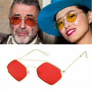 4754d4de9e Small Sunglasses Men Women Retro Metal Frame Yellow Red Vintage Tiny ...