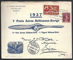 Switzerland covers 1927 1st Flightcover Bellinzona-Zürich
