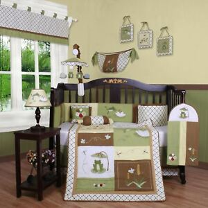 Green-Brown-Frogs-13-pcs-Crib-Bedding-Set-Baby-Boy-Nursery-Quilt-Bumper-Diaper