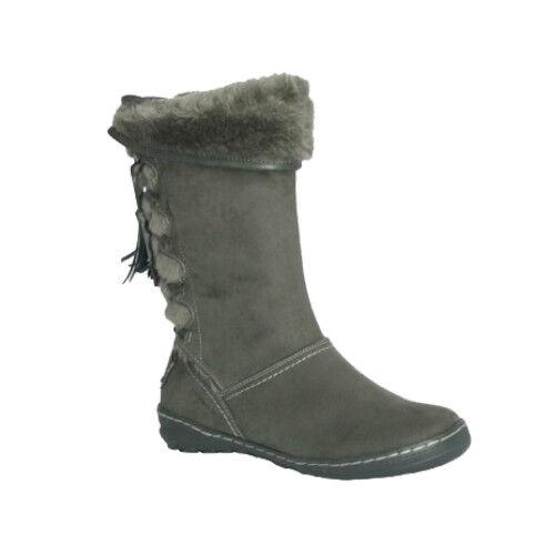 Pixie Heidi Grau Mid-Heel Fully Fur Lined Suede Stiefel NEW    Größe 4