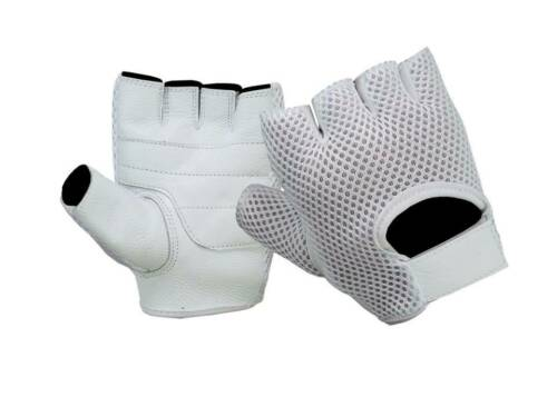 REAL LEATHER UNISEX MENS LADIES FINGERLESS DRIVING BIKE GYM SPORT CYCLING GLOVES