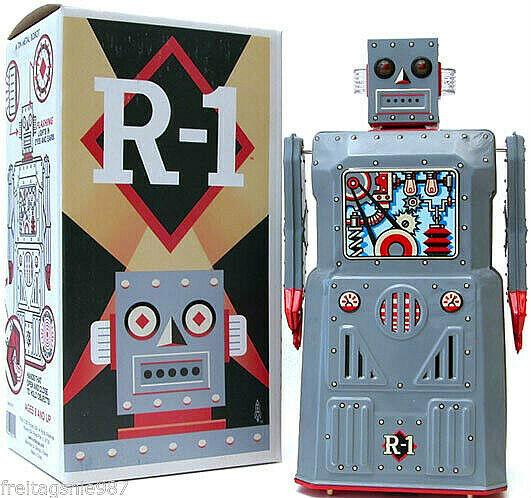 ROBOT R1 tin-toy 30cm Grey Version Bump `N Go made by Rocket USA