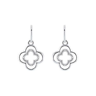 14K White Gold FN Silver Push Back 0.15 Ct Claddagh Stud Earrings For Women/'s
