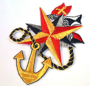 NAUTICAL-SAILING-ANCHOR-FLAGS-Embroidered-Iron-Sew-On-Cloth-Patch-Badge-APPLIQUE