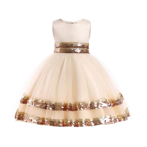 Christmas Girls Kids Party Dress Sequin Shiny Wedding Birthday Pageant XMAS Gift