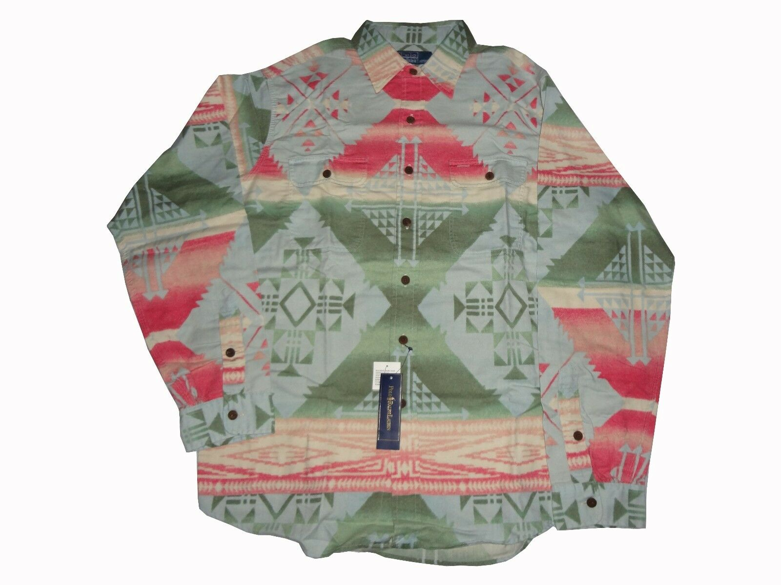 Ralph Lauren Southwestern Aztec Shirt XL NWT Rare Vintage Stadium Bear