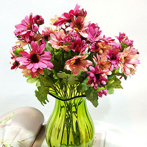 Image Is Loading 21 Heads Artificial Silk Chrysanthemum Daisy Flower Bouquet