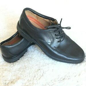 Clarks-Unstructured-Mens-Size-8-5-US-Black-Leather-Lace-Up-Oxford-Dress-Shoes