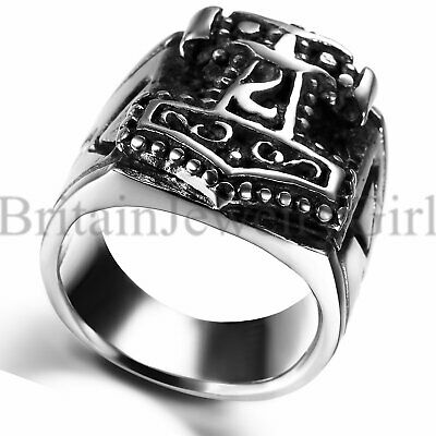 Vintage Biker Stainless Steel Thor/'s Hammer Ring Band Men/'s Jewelry Size 7-15