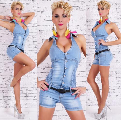 Donna Jeans Tuta Jeans Hot Pants Jumpsuit Blue Slavati Taglia M L