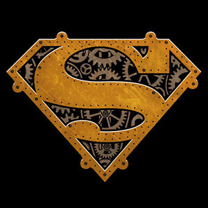 DC-SUPERMAN-STEAMPUNK-SYMBOL-Logo-BLACK-Adult-Licensed-T-Shirt-S-3XL