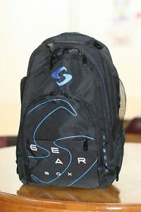 Image is loading GEARBOX-RACQUETBALL-BAG-Backpack-M40-BLACK-BLUE 003697ac832b2