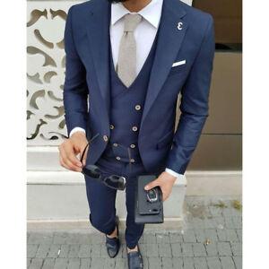 7cf85a5ae1 Navy Blue Men Suit Jacket Groom Style Suits Slim Fit 3 Piece Tuxedo ...