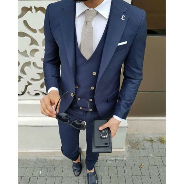 Navy Blue Wedding Tuxedos Double Breasted Vest Dinner Party Prom