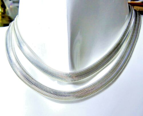 "Sterling 925 Silver SF 6mm Flat Snake Chain Necklace 22/"" Length"