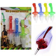 4 * botella de licor vertedores de plástico para el vino espíritus aceite verter Dispensador de ayuda & Cap