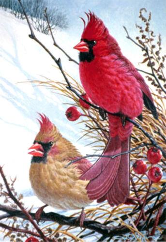 Glassmasters  WINDY CARDINALS BIRD ART 7 x 9 Stained Glass Panel Suncatcher