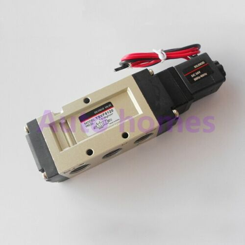 """YSVF5120 VF5120 3//8/"""" Inlet Outlet Exhaust Two 2//5 way Air solenoid valve 24V DC"""