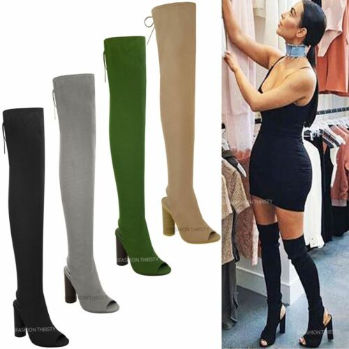 Womens Ladies Thigh High Boots Knit Stretch Over The Knee Celeb Block Heels Size