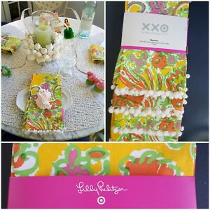 Lilly-Pulitzer-Napkins-4-Count-Set-034-Happy-Place-034-Orange-Green-amp-Yellow-cotton