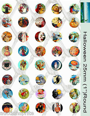 "40 Halloween Images 25mm /1"" Round Collage Paper - Glass Tile Pendants Scrapbook"