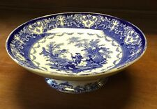 RARE Royal Doulton WATTEAU,Flow Blue, Footed Compote Ca 1896 Excellent