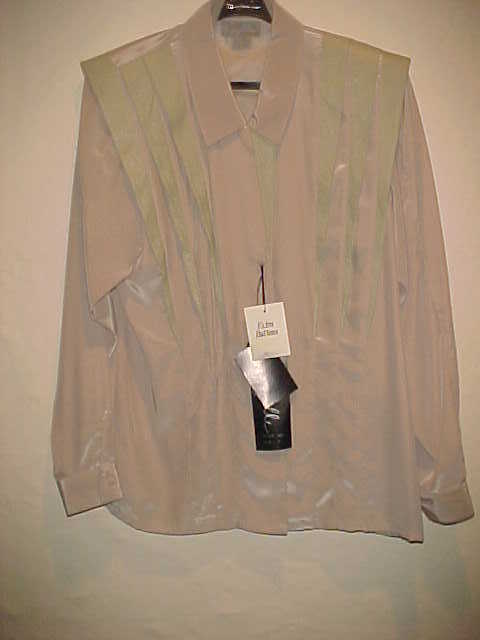 RARE VINTAGE LADIES SUZELLE POLYESTER BLOUSE Farbe TAUPE DETAILED BEAUTIFUL SZ 4