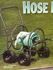 Liberty-Garden-Pneumatic-Wheel-Steel-Frame-Hose-Reel-Carrier-Cart-With-Basket