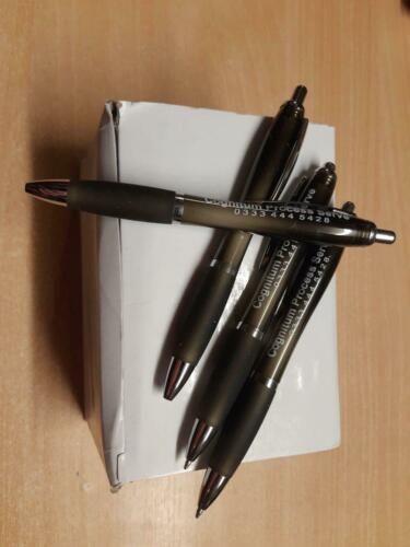 Cabaret White Curvy Barrel Pen with Colour Grip Box of 50 Pens