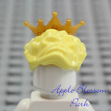 NEW Lego Female Princess Minifig BLONDE QUEEN HAIR - Yellow w/GOLD Tiara Crown