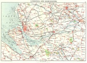 Details about MERSEYSIDE & MANCHESTER. Liverpool Chester Bolton Warrington  Wirral 1893 map