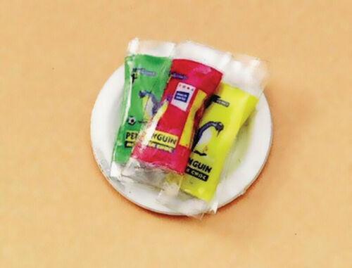 """Casa De Muñecas Escala 1//12TH /""""Penguin/"""" galletas en placa de papel"""