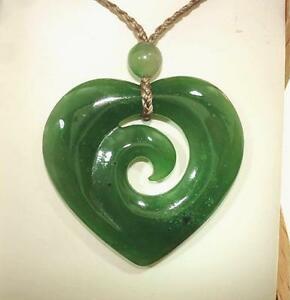 33mm maori hei manawa heart with koru element premium nephrite jade image is loading 33mm maori hei manawa heart with koru element aloadofball Image collections