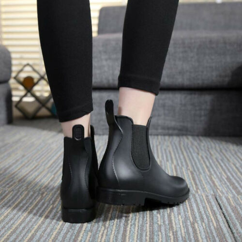 Women New Chelsea Rain Boots Faux Leather Low Top Round Toe PVC Shoes Girl 00