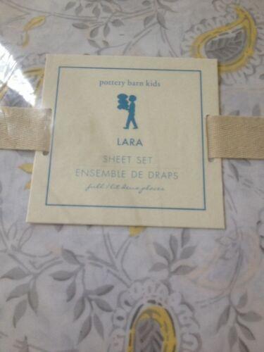 4pc Pottery Barn Kids Yellow Grey Paisley Lara Sheet Set Full NWT F