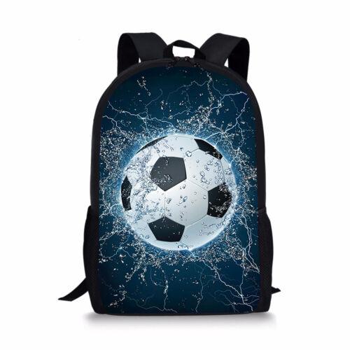 """Football Soccer Print School Backpack Boys Mens 17/"""" Travel Rucksack Day Pack New"""