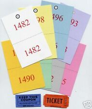 1000 REVERSE RAFFLE TICKETS - DOUBLE NUMBERED ADMISSION Drawing Claim Coat Check