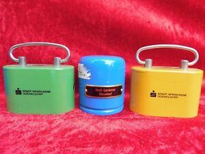3-schone-alte-Spardosen-Metall-Sparkasse