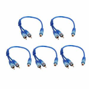 5-piezas-azul-RCA-hembra-a-2-RCA-macho-adaptador-Cable-divisor-para-Cable