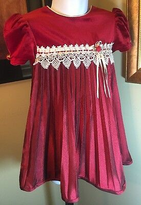 Rose Carriage Size 24 M Red Velvet Pleated Fancy Christmas Holiday Dress New WOT