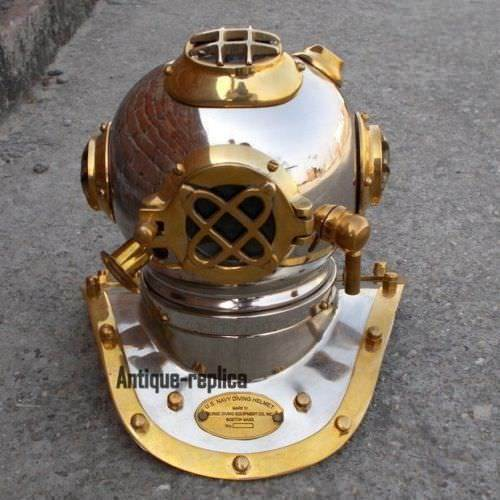 U.S NAVY MODEL SOLID BRASS MINI TABLETOP DIVING HELMET VINTAGE STYLE CHROME gift