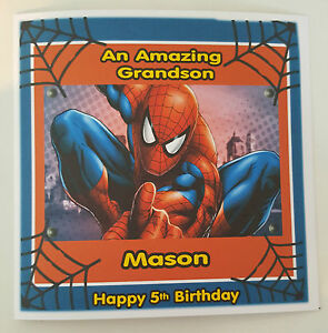 Large personalised 5th birthday card spiderman grandson son any image is loading large personalised 5th birthday card spiderman grandson son bookmarktalkfo Gallery