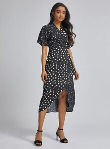 Dorothy Perkins Black Spot Wrap Pleated Midi Dress Vestito Donna