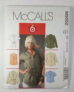 McCalls-Womens-Top-Blouse-Tie-Belt-Pattern-5052-Shirt-Size-6-8-10-12-14-16-18-20