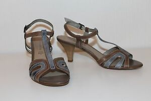 Details zu TAMARIS Leder Damen Sandalen 37 Schuhe TAUPE GRAU PUMPS leather sandals UK4
