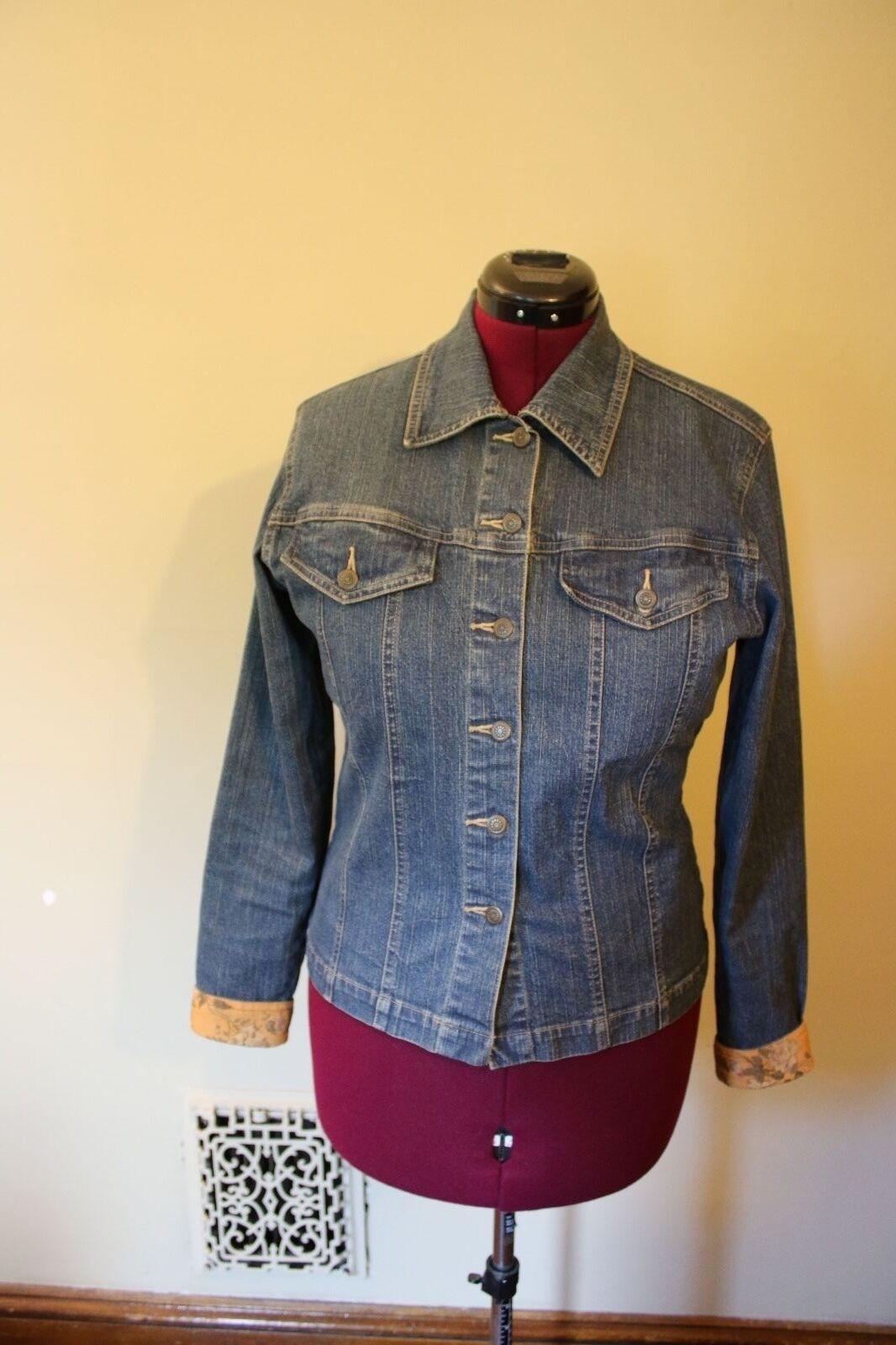 Women's Denim Jacket w/ Floral Corduroy Cuffs Classic Blue Collection Size M
