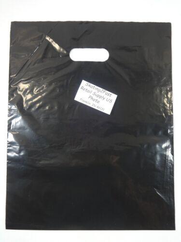 "12/"" x 15/"" Black Glossy Low Density Merchandise Bag Retail Shopping Bags 500 Qty"